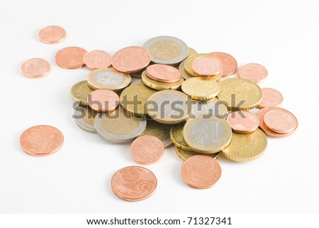 Euro coins heap isolated on white background - stock photo