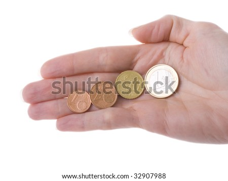 Euro coins in a Hand. One cent, Two cents, Ten cents, One Euro