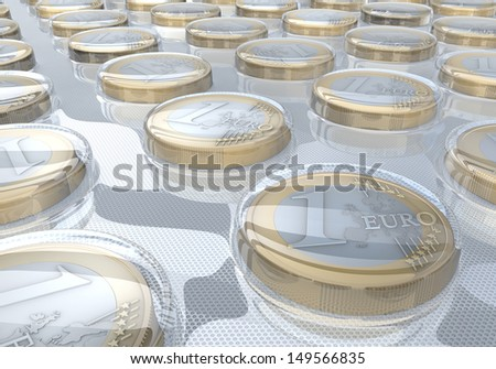 Euro coins in medical blister pack - 3d rendering - stock photo