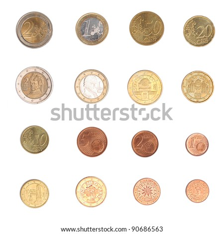 Euro coins including both the international and national side of Austria