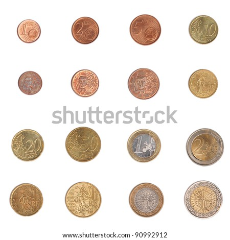 Euro coins including both the international and national side of France