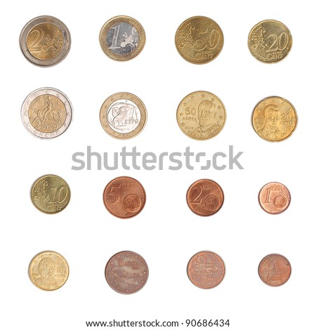 Euro coins including both the international and national side of Greece