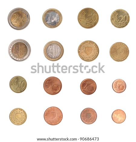 Euro coins including both the international and national side of Nederlands