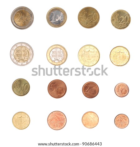 Euro coins including both the international and national side of Slovakia