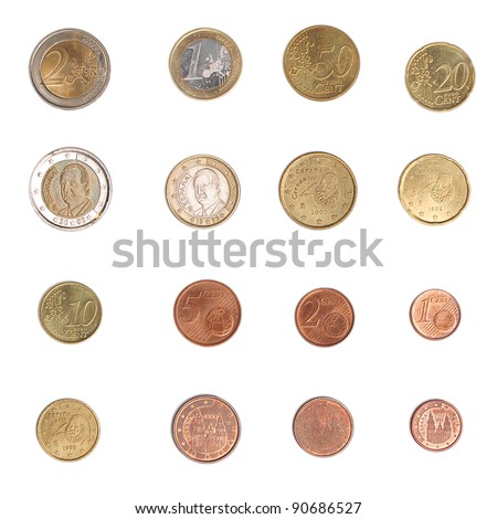 Euro coins including both the international and national side of Spain