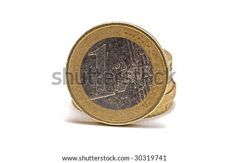 euro coins isolated on white background - stock photo