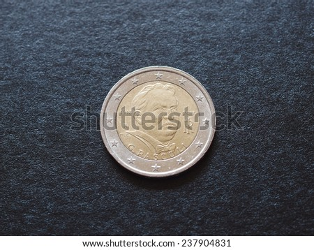 Euro coins issued by Italy to celebrate writer Giovanni Pascoli (1855-1912) - stock photo