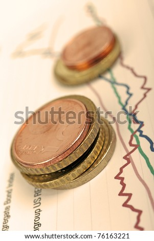 Euro coins laying on financial graph, selective focus, warm filter. - stock photo