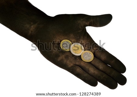 Euro coins lying on dirty hand. Isolated on white. Concept photo. - stock photo