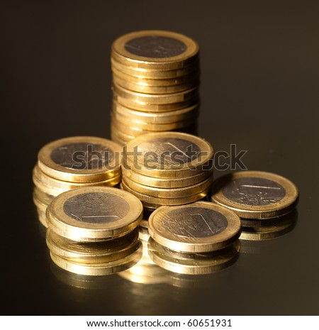 euro coins on metal
