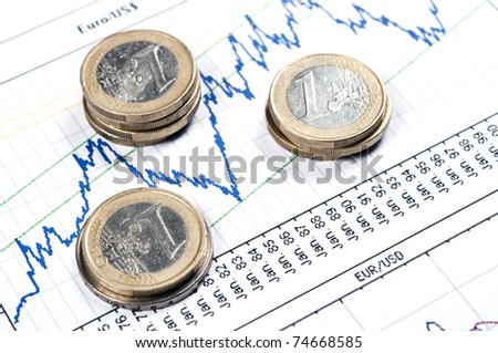 Euro coins on statistics graph - stock photo