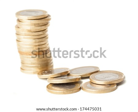 euro coins pile isolated on a white background
