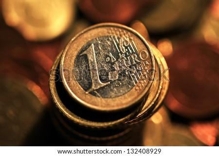 Euro coins. Selective focus. - stock photo