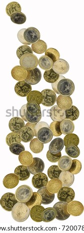 euro coins shot as if falling from above - stock photo