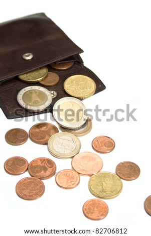 Euro coins spilling out of open leather wallet; isolated on white background. - stock photo
