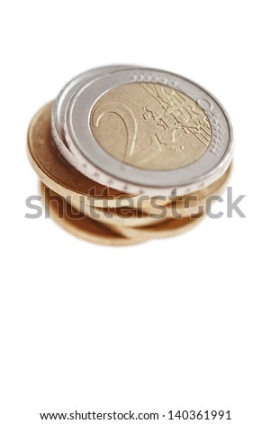 euro coins stacked isolated on white