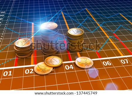 Euro coins with financial charts and graphs - stock photo
