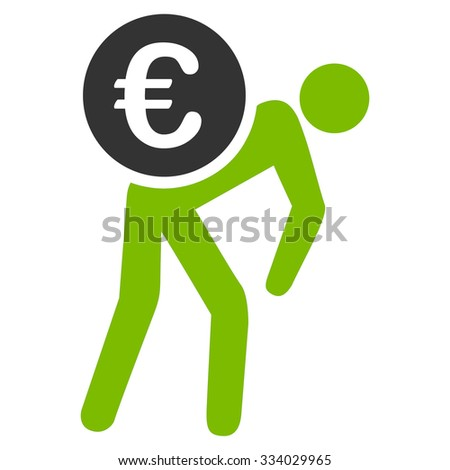 Euro Courier glyph icon. Style is bicolor flat symbol, eco green and gray colors, rounded angles, white background. - stock photo