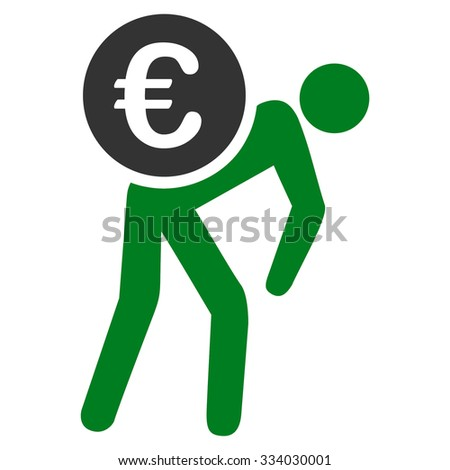 Euro Courier glyph icon. Style is bicolor flat symbol, green and gray colors, rounded angles, white background. - stock photo