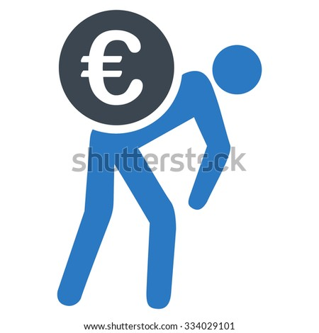 Euro Courier glyph icon. Style is bicolor flat symbol, smooth blue colors, rounded angles, white background. - stock photo