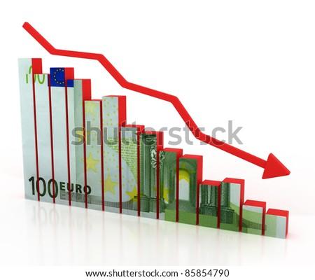 euro crash, financial crisis - stock photo