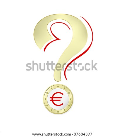 Euro crisis - Euro coin with Euro sign isolated against white background including clipping path - raster version - stock photo