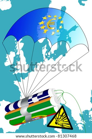 Euro crisis in Europe - stock photo