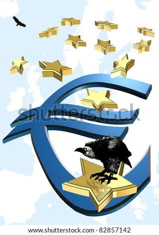 Euro crisis: The threat of bankruptcy is hanging over the Euro and the European Union - stock photo