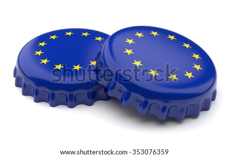Euro crown beer caps on a white background - stock photo