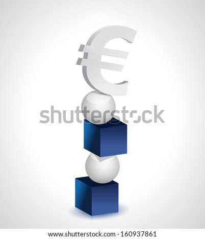 euro ,cubes and spheres balance illustration design over a white background - stock photo