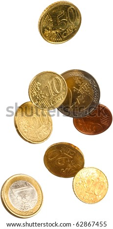 euro curency falling isolated - stock photo