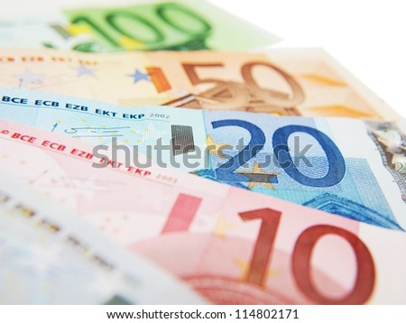 Euro currency bank notes, isolated towards white background - stock photo