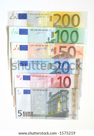 Euro currency, 5, 10, 20, 50 100, 200 bills - stock photo