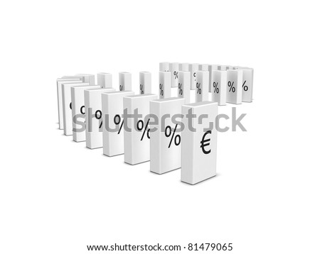 Euro currency crash. Domino effect. Isolated on the white background - stock photo