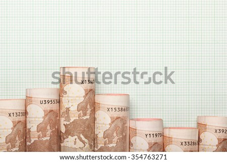 Euro currency forming a downtrend graph - stock photo