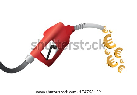 euro currency gas pump illustration design over a white background - stock photo