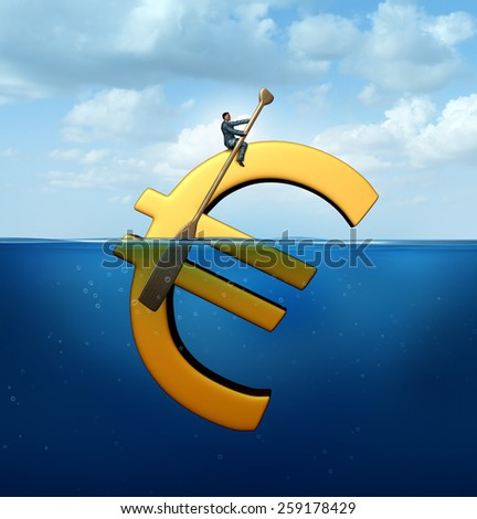Euro currency guidance financial concept as a european money icon floating in the water with a businessman using an oar to steer and guide the economic symbol. - stock photo