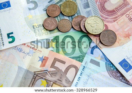 Euro currency paper money