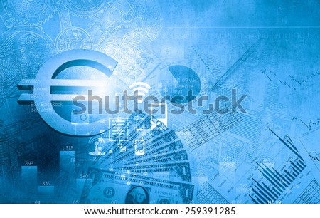 Euro currency sign graph and diagrams against digital background