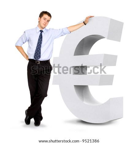 euro currency sign with a business man leaning on it - isolated over a white background - stock photo
