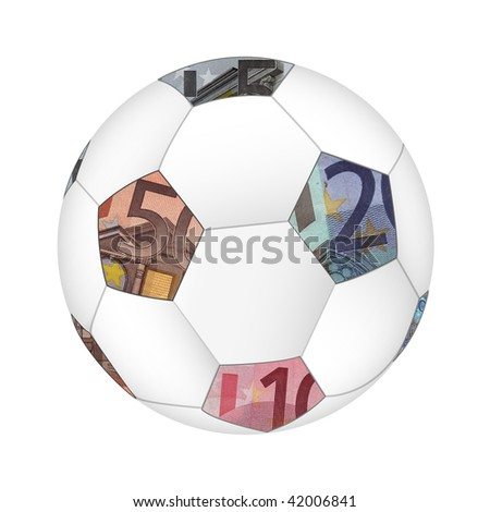 Euro currency soccer ball isolated on white background