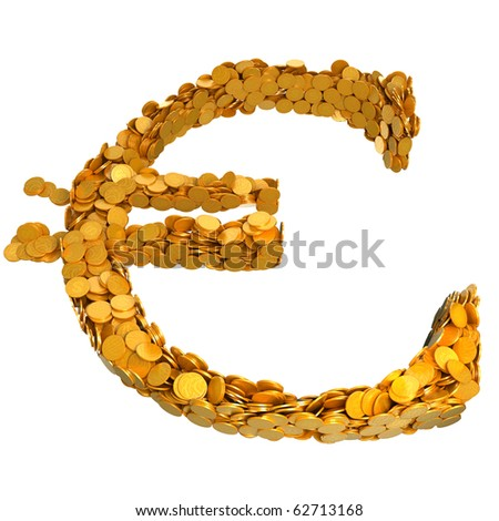 Euro currency symbol assembled with coins. Isolated on white