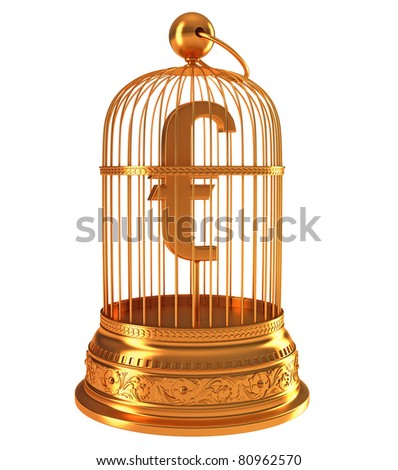 Euro currency symbol in golden birdcage isolated over white