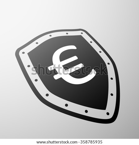 Euro currency symbol on the shield. Stock illustration. - stock photo