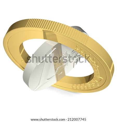 Euro cut in two pieces - stock photo