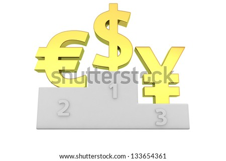 Euro, dollar and yen signs on the winners podium
