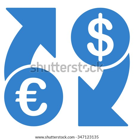 Euro Dollar Euro Exchange glyph icon. Style is flat symbol, cobalt color, rounded angles, white background.