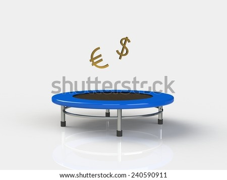 Euro, dollar Jumping on a trampoline on a white background - stock photo