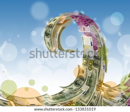 Euro dollar Money wave - stock photo