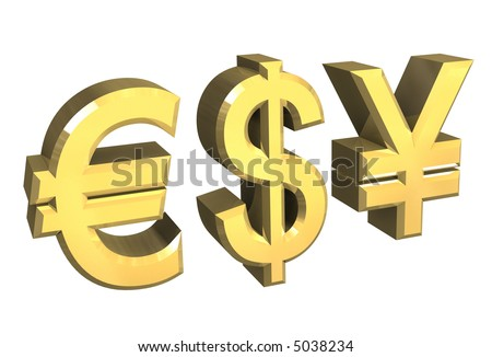 euro, dollar, yen symbol in gold (3D)